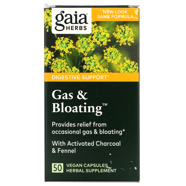 Gaia Herbs, Gas & Bloating, 50 веганских капсул