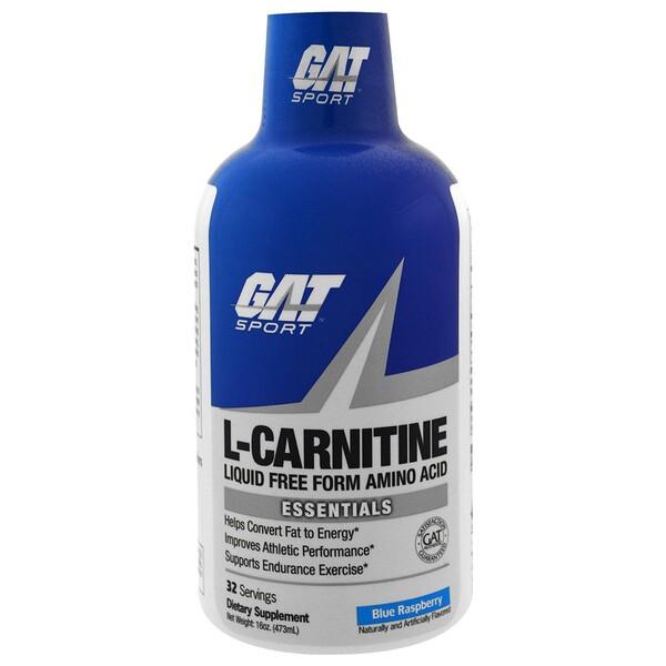 GAT, L-карнитин, аминокислота в свободной форме, со вкусом голубой малины, 473 мл (16 унций)