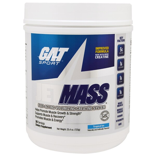 JetMASS, Fast-Acting Volumizing Creatine System, Tropical Ice, 25.4 oz (720 g)