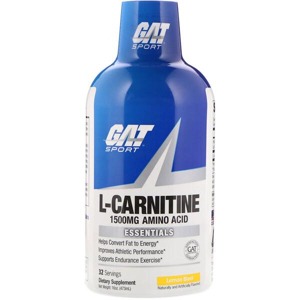 GAT, L-Carnitine, Amino Acid, Lemon Blast, 1,500 mg, 16 oz (473 ml)