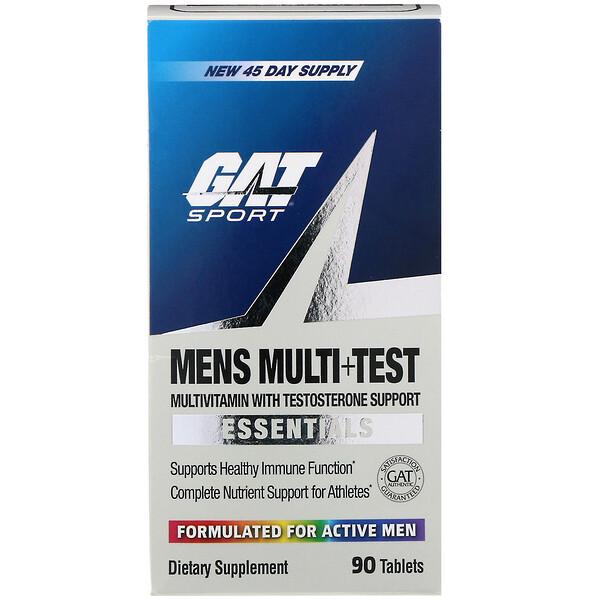 GAT, Men'sMulti+Test, мультивитаминная добавка для мужчин, повышающая уровень тестостерона, 90таблеток