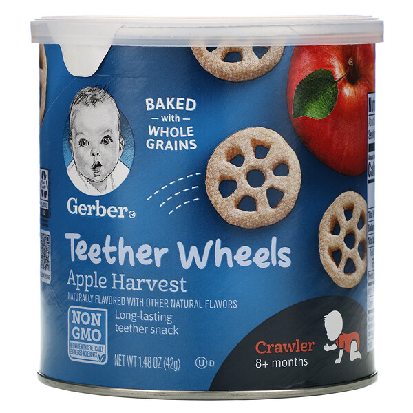 Gerber, Teether Wheels, для малышей от 8месяцев, с яблоком, 42г (1,48унции)