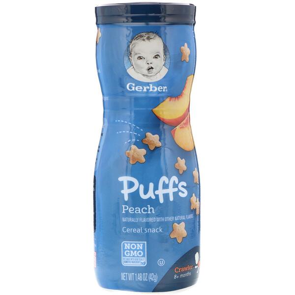 Снек Puffs с хлопьями, для младенцев, умеющих ползать (в возрасте от 8месяцев), со вкусом персика, 42г (1,48унции)