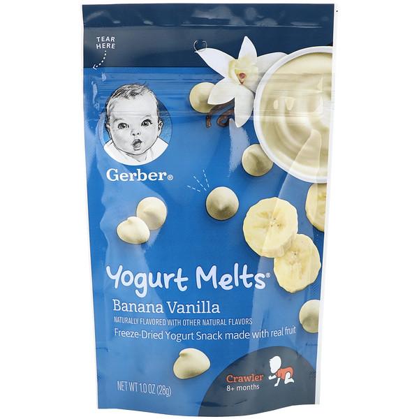 Gerber, Yogurt Melts, йогурт для малышей от 8месяцев, банан и ваниль, 28г (1унция)
