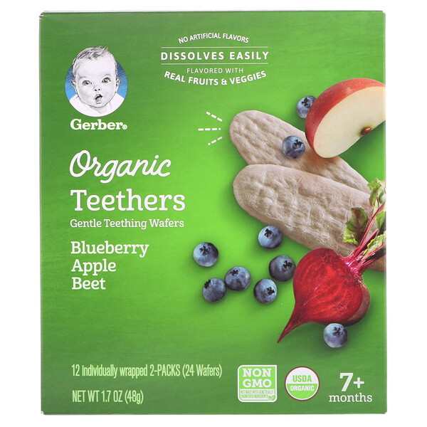 Organic Teethers, Gentle Teething Wafers, 7+ Months, Blueberry Apple Beet, 1.7 oz (48 g)
