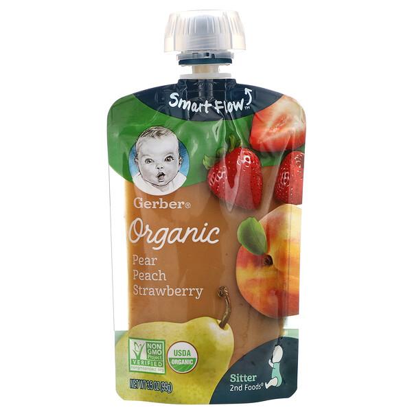 Smart Flow, Organic, груша, персик и клубника, 99г (3,5унции)