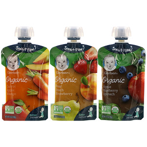 Gerber, Organic Value Pack,  Pear Peach Strawberry, Carrot Apple Mango, Apple Blueberry Spinach, 9 Pouches, 3.5 oz (99 g) Each