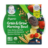 Gerber, Organic, Grain & Grow, Morning Bowl, 10+ Months, Oats, Barley and Red Quinoa with Banana & Summer Berries, 4.5 oz (128 g)