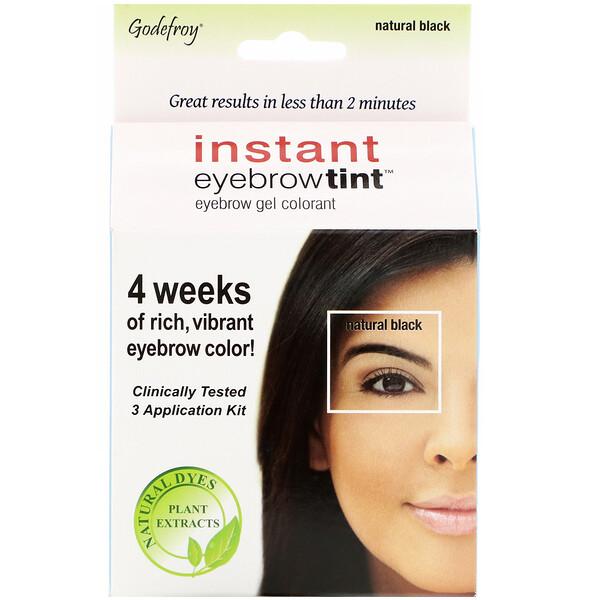 Instant Eyebrow Tint, Natural Black, 3 Application Kit