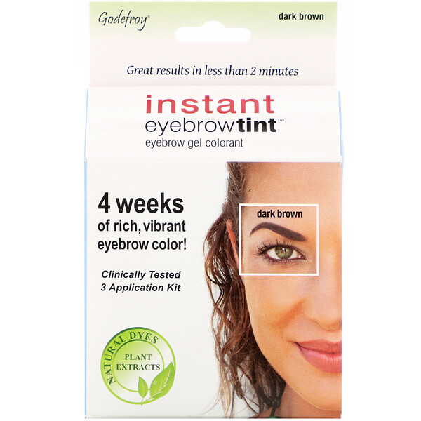 Instant Eyebrow Tint, Dark Brown, 3 Application Kit