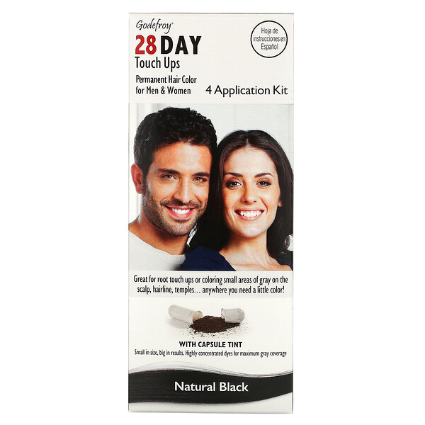 28 Day Touch Ups, Natural Black, 4 Application Kit