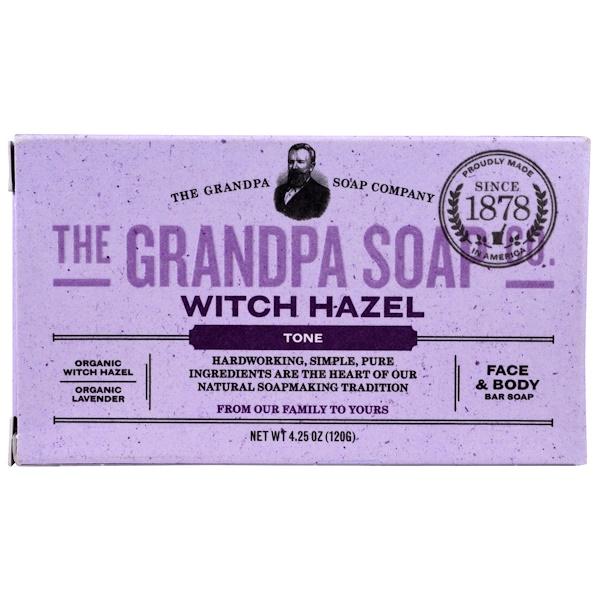 Кусковое мыло для лица и для тела, тонизирующее, с гамамелисом, 4,25 унции (120г)