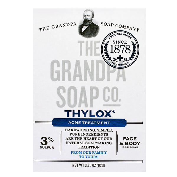 Grandpa's, Брусковое мыло для лица и тела, Thylox, борьба с акне, 92 г