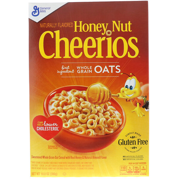 General Mills, Cheerios с орехами и медом, 10,8 унции (306 г)