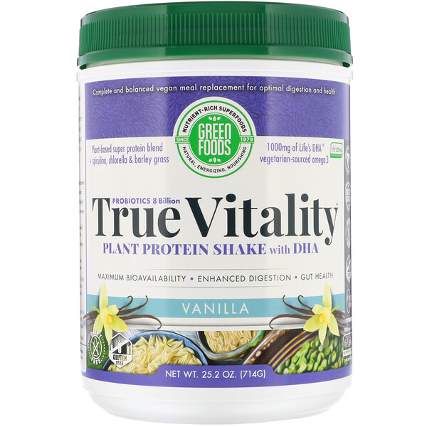 Green Foods, True Vitality, Plant Protein Shake with DHA, Vanilla, 25.2 oz (714 g)
