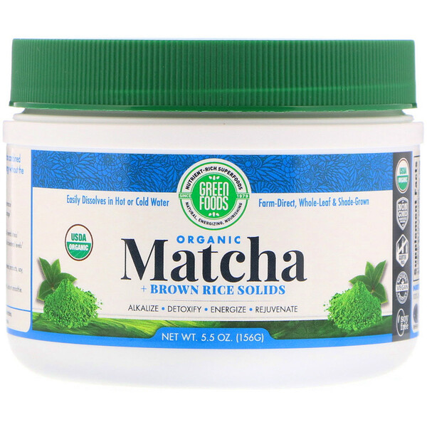 Green Foods, Organic Matcha + Brown Rice Solids, 5.5 oz (156 g)