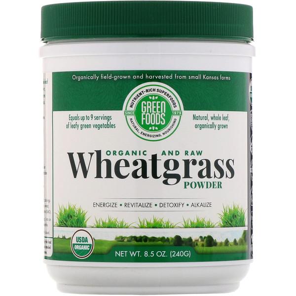 Green Foods, Органические и необработанные ростки пшеницы в порошке, 240г (8,5унции) (Discontinued Item)