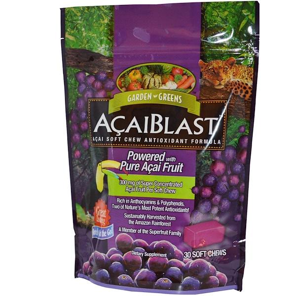 Garden Greens, «AcaiBlast» Антиоксидантная Жевательная Добавка с Асаи, 30 мягких жевательных таблеток (Discontinued Item)