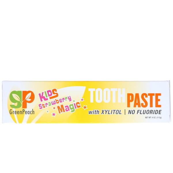GreenPeach, Детская зубная паста, клубничная магия, 4 унции (113 г)