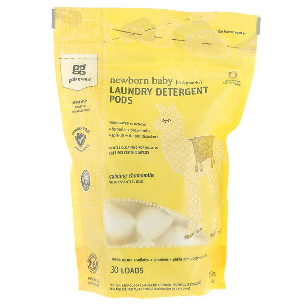 Laundry Detergent Pods, Newborn Baby, Calming Chamomile with Essential Oils, 0-4 Months, 30 Loads, 1.05 lbs (480 g)