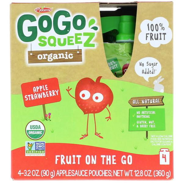GoGo SqueeZ, Органическое яблочное пюре, яблоко и клубника, 4 пакетика по 3,2 унц. (90 г) (Discontinued Item)