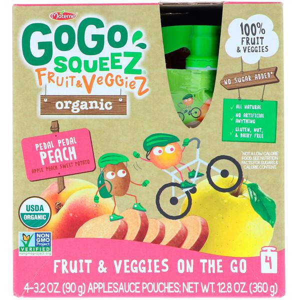 GoGo SqueeZ, Органические фрукты и овощи, персик на велосипеде, 4 пакетика по 3,2 унц. (90 г) (Discontinued Item)