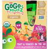 GoGo SqueeZ, Oрганические фрукты и овощи, Натуральные ягоды, 4 упаковки, 3,2 унц. (90 г) каждая