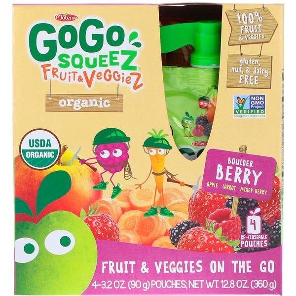 GoGo SqueeZ, Oрганические фрукты и овощи, Натуральные ягоды, 4 упаковки, 3,2 унц. (90 г) каждая (Discontinued Item)