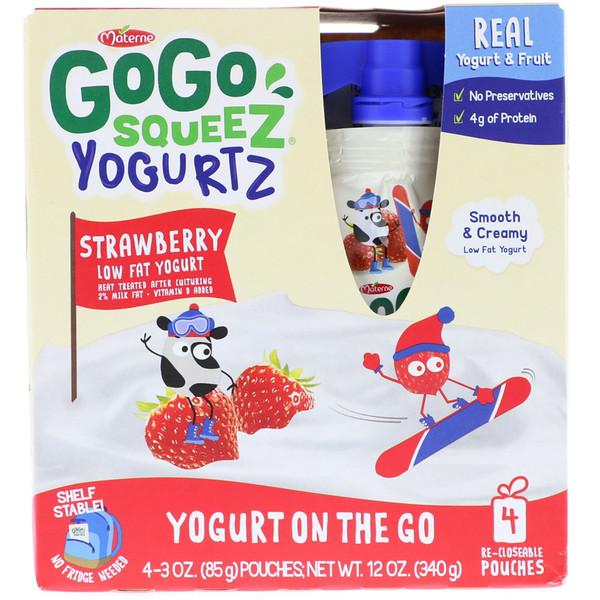 GoGo SqueeZ, YogurtZ, клубника, 4 пакетика по 3 унц. (85 г) (Discontinued Item)