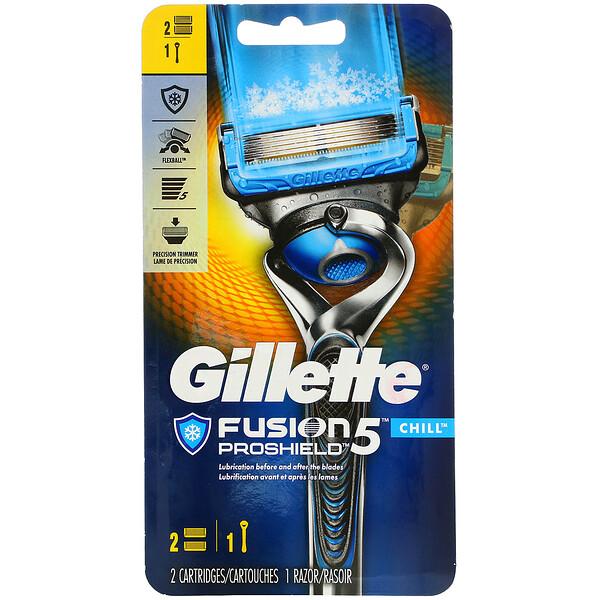 Gillette, Бритва Fusion5 Proshield, Chill, 1бритва + 2кассеты