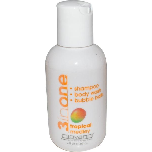 Giovanni, 3 in One, Shampoo, Body Wash, Bubble Bath, Tropical Medley, 2 fl oz (60 ml) (Discontinued Item)