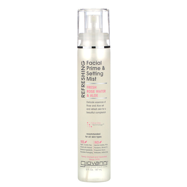 Refreshing Facial Prime & Setting Mist, Fresh Rose Water & Aloe, 5 fl oz (147 ml)