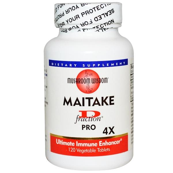 Maitake D-Fraction, Pro 4X, 120 растительных таблеток