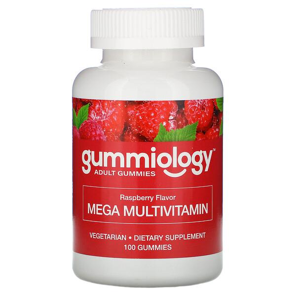 Gummiology, Мега-мультивитамины для взрослых в жевательных таблетках, с натуральным вкусом малины, 100вегетарианских жевательных таблеток