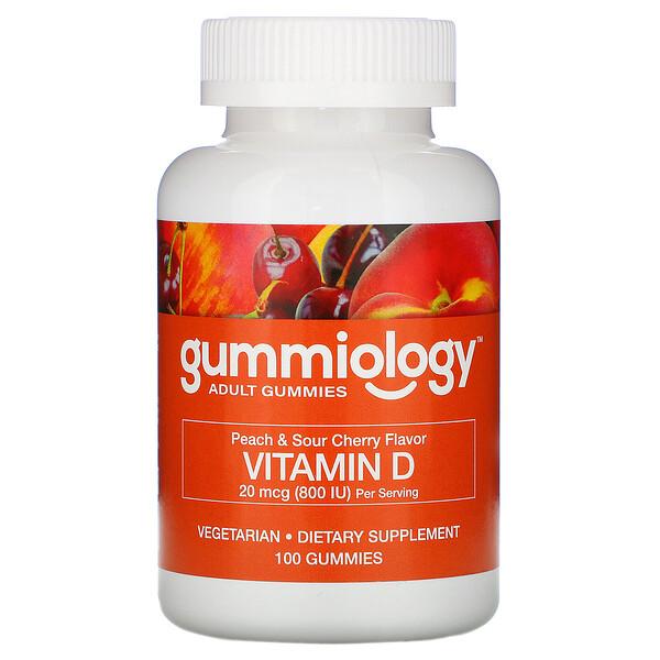 жевательные таблетки с витаминомD3 для взрослых, натуральный вкус персика и вишни, 100вегетарианских жевательных таблеток