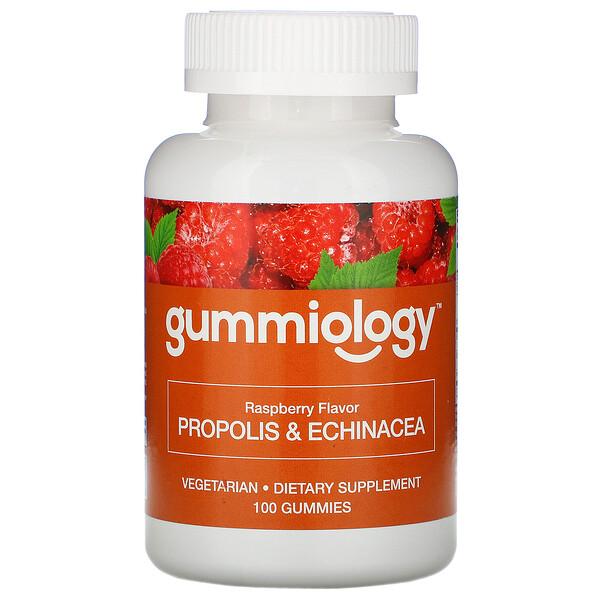 Gummiology, жевательные таблетки для взрослых с прополисом и эхинацеей, без желатина, натуральный ароматизатор «Малина», 100вегетарианских жевательных таблеток