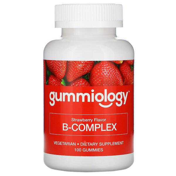 B Complex, жевательные таблетки для взрослых с комплексом витаминов В, натуральный клубничный вкус, 100вегетарианских жевательных таблеток