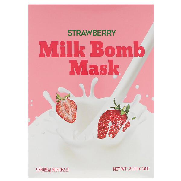 Strawberry Milk Bomb Mask, 5 Sheets, 21 ml Each