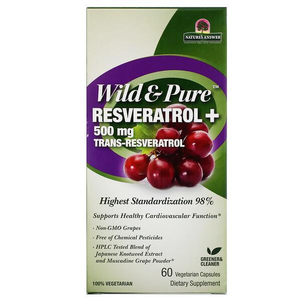 Wild & Pure Resveratrol+, 500 мг, 60 вегетарианских капсул