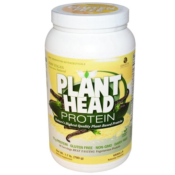 Genceutic Naturals, Протеин Plant Head, ванильный вкус, 1,7 фунта (780 г) (Discontinued Item)