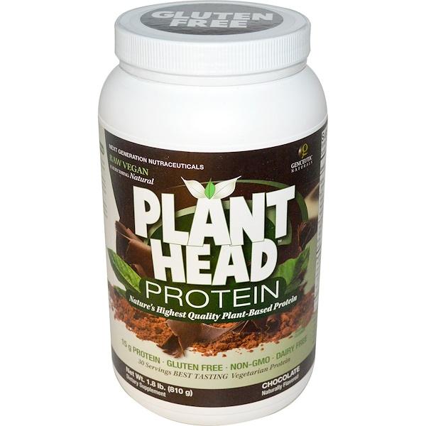 Genceutic Naturals, Протеин Plant Head, шоколадный вкус, 1,8 фунта (810 г) (Discontinued Item)