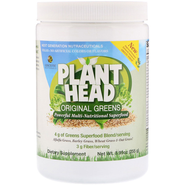 Genceutic Naturals, Plant Head, натуральная зелень, 8,99 унций (255 г) (Discontinued Item)