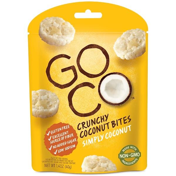 GoCo, Хрустящие кокосовые кусочки, Просто кокос, 1,4 унции (40 г) (Discontinued Item)