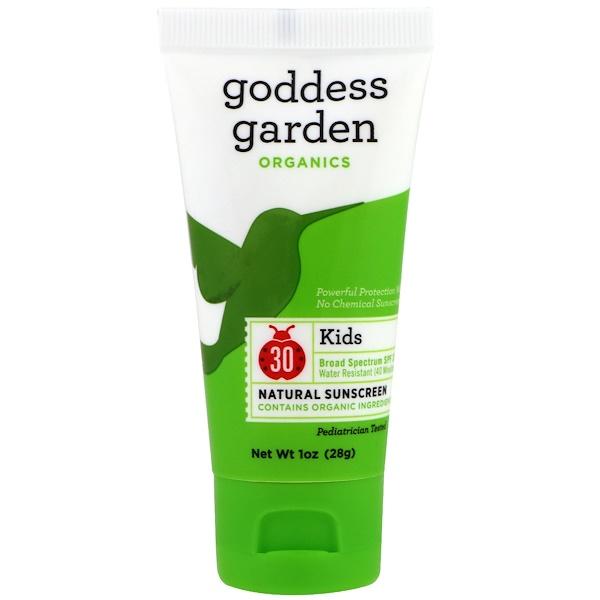Goddess Garden, Органический продукт, для детей, натуральное солнцезащитное средство, SPF 30, 1 унция (28 г) (Discontinued Item)
