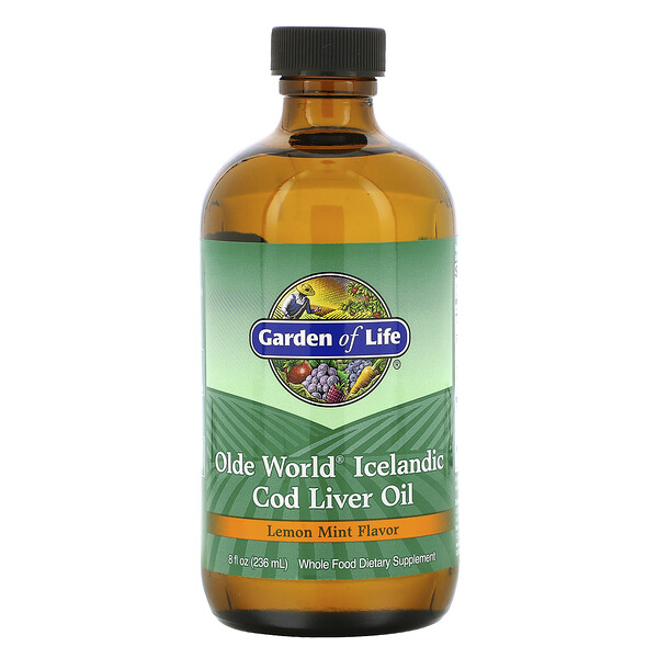 Olde World Icelandic Cod Liver Oil, со вкусом лимона и мяты, 8 жидких унций (236 мл)