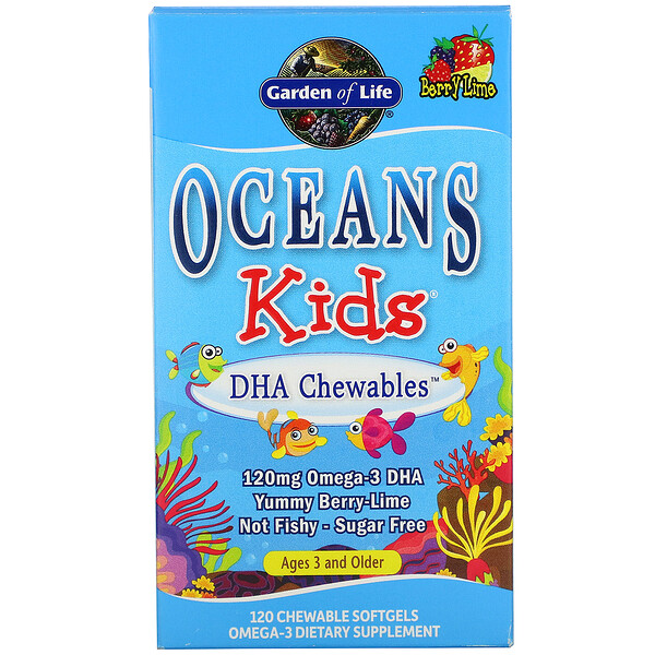 Oceans Kids, DHA Chewables, Age 3 and Older, Berry Lime, 120 mg, 120 Chewable Softgels