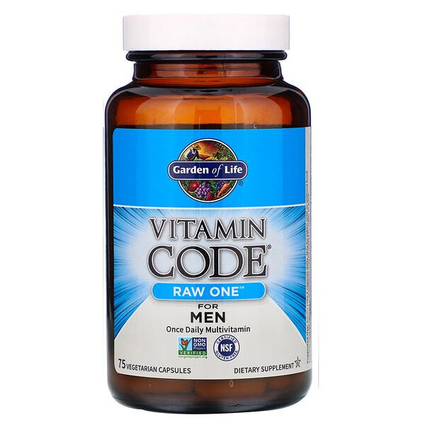 Vitamin Code, RAW One, мультивитаминная добавка из сырых ингредиентов для мужчин (для приема 1раз в день), 75вегетарианских капсул