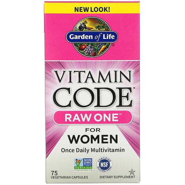 Vitamin Code, RAW One, мультивитаминная добавка для женщин (для приема 1раз в день), 75вегетарианских капсул