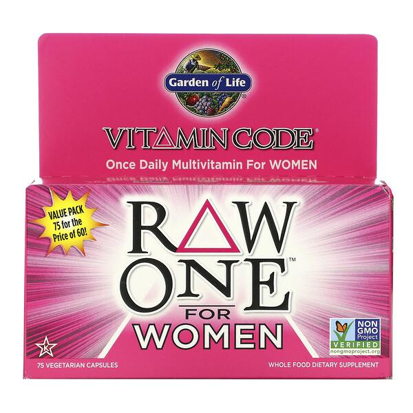 Garden of Life, Vitamin Code, RAW One, мультивитаминная добавка для женщин (для приема 1раз в день), 75вегетарианских капсул