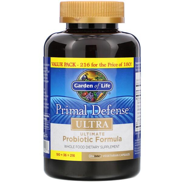 Garden of Life, Primal Defense, Ultra, универсальная пробиотическая формула, 216 вегетарианских капсул UltraZorbe